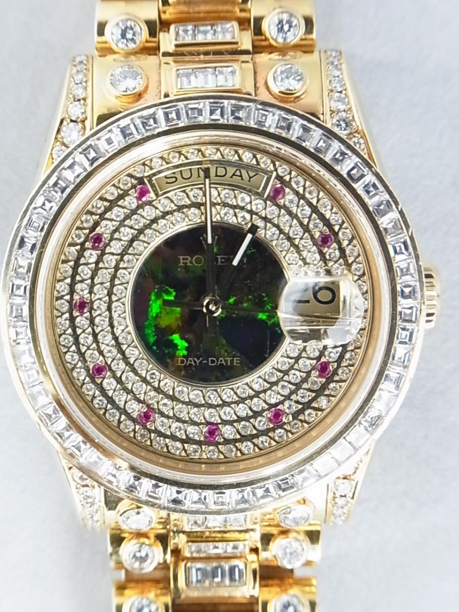 ロレックスデイデイトアフターダイヤモンド118238 P番 改造モデルの買取実績と正面全体画像