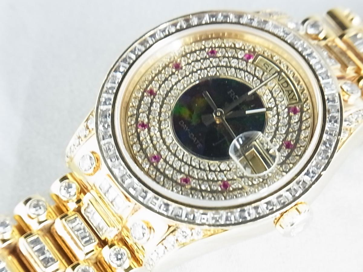 ロレックスデイデイトアフターダイヤモンド118238 P番 改造モデルの買取り実績とフェイス斜め画像
