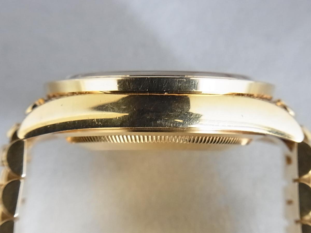 ロレックスデイデイトアフターダイヤモンド118238 P番 改造モデルの高額売却実績と9時ケースサイド画像