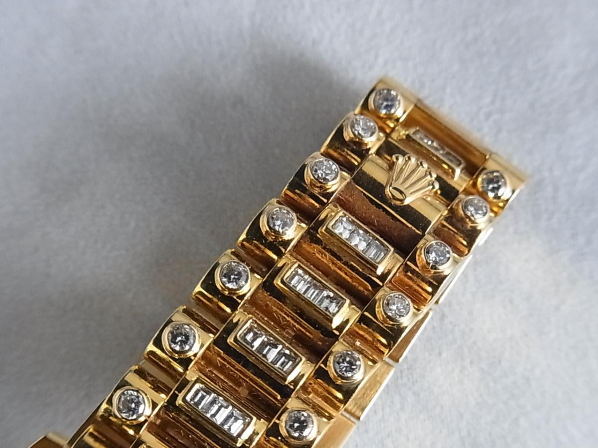 ロレックスデイデイトアフターダイヤモンド118238 P番 改造モデルの高価売却とバックル画像