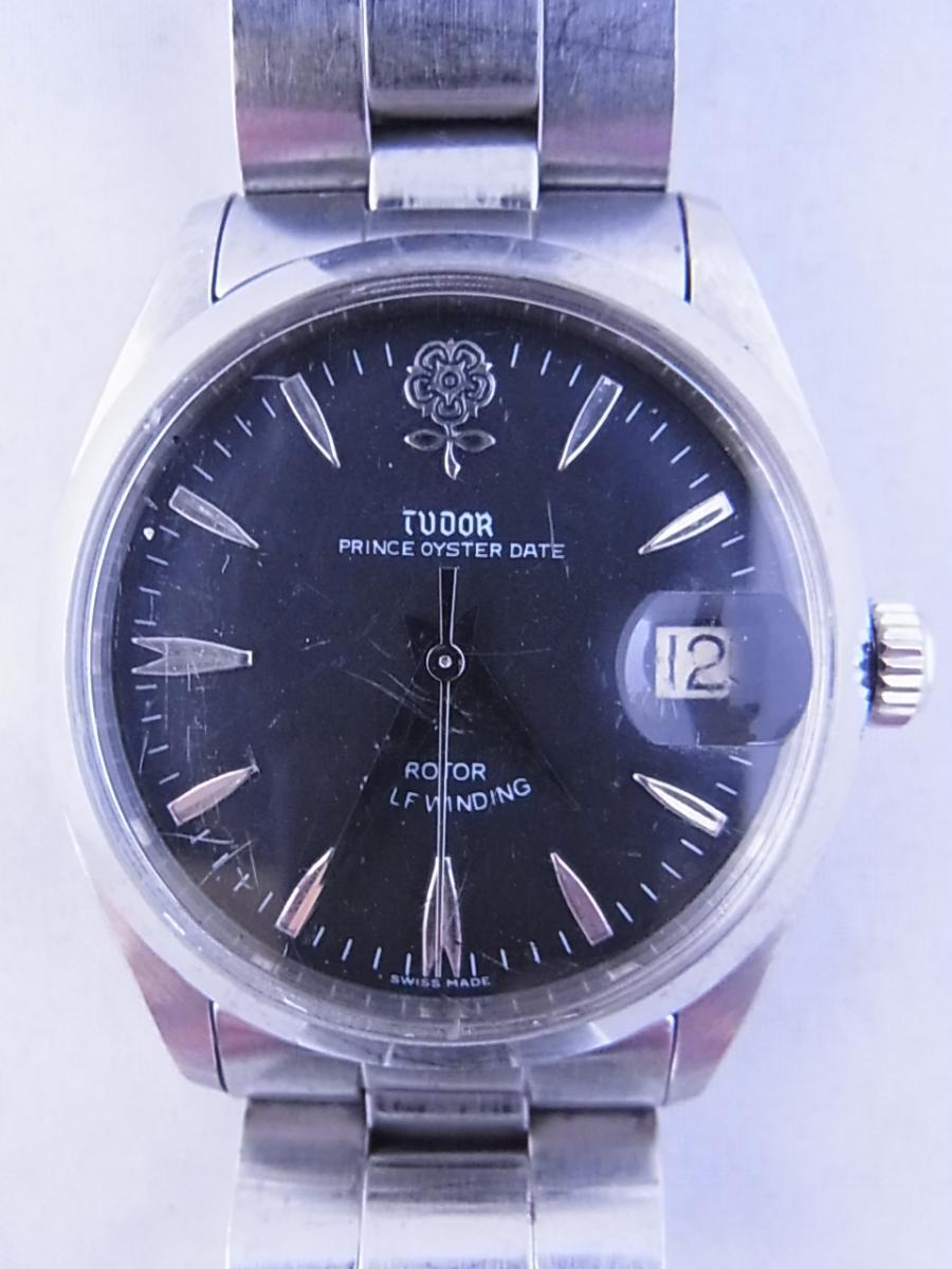 チュードルデカバラリダン 時計本体のみ 1960年代 34mmラウンド型のシルバーケースにブラックダイヤルの買取実績と正面全体画像