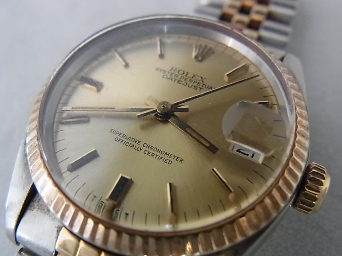 ロレックスデイトジャスト6827 59~シリアル(ロレックスデイトジャスト6827、シリアル59~番とは、1979年ごろにかけて製造されたロレックスデイトジャストである事を意味しています)の買取り実績とフェイス斜め画像