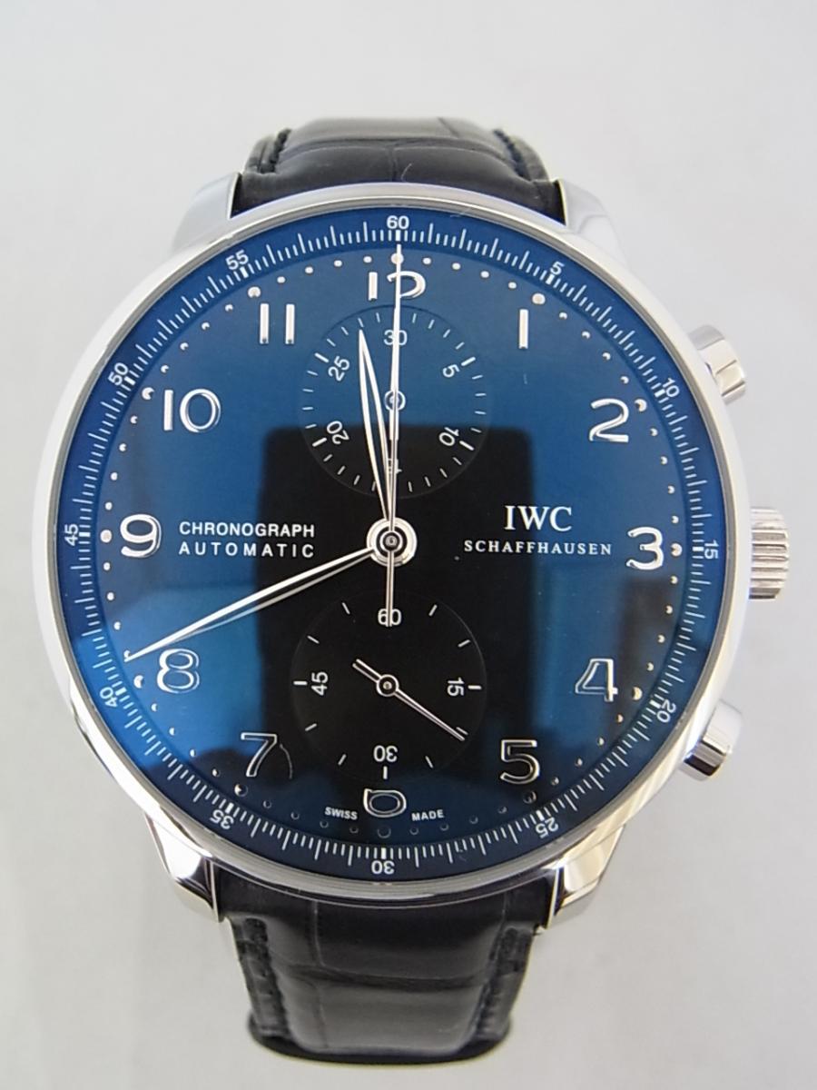 IWCポルトギーゼクロノグラフブラックダイヤルIW371447の買取実績と正面全体画像