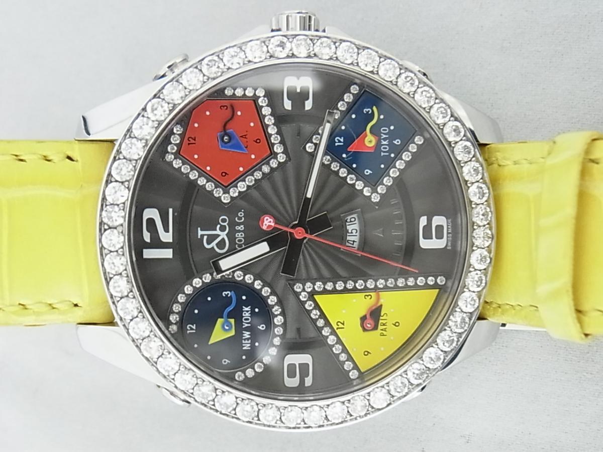 ジェイコブファイブタイムゾーンJC-58DAD ダイヤモンド巻ベゼルの買取実績と正面全体画像