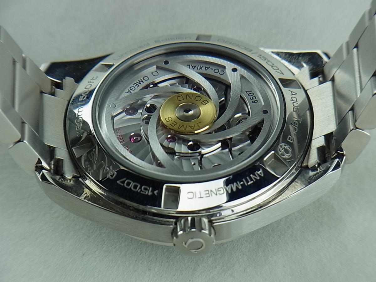 オメガシーマスターアクアテラ007限定ジュームスボンド231.10.42.21.03.004売却実績と裏蓋バックスケルトン画像