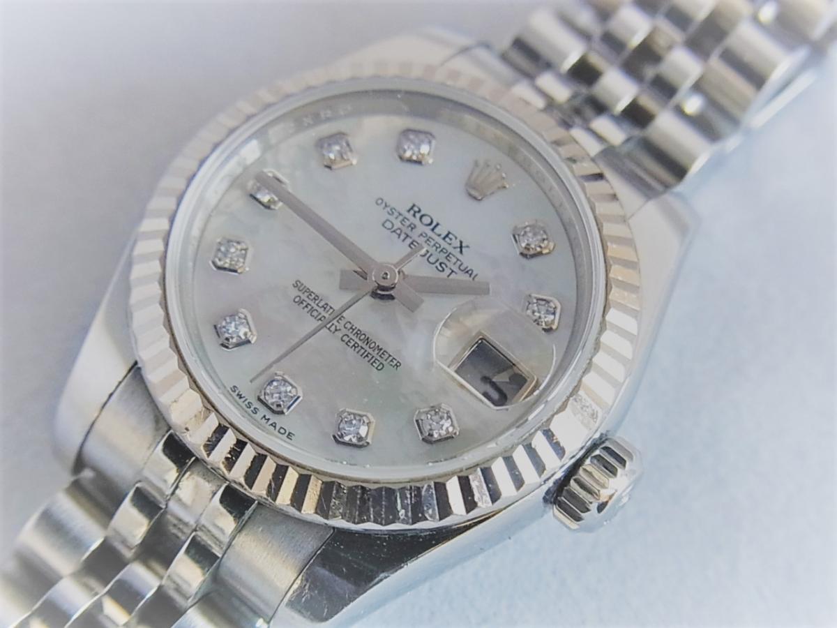 ロレックスデイトジャスト179174NG M番シリアル 買取り実績 フェイス斜め画像 時計を売るならピアゾ(PIAZO)