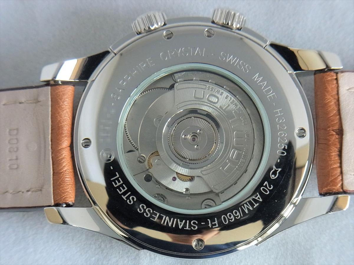 ハミルトンジャズマスタートラベラー2 H32625555 GMT/アラーム機能搭載モデル 売却実績 裏蓋バックスケルトン画像 時計を売るならピアゾ(PIAZO)