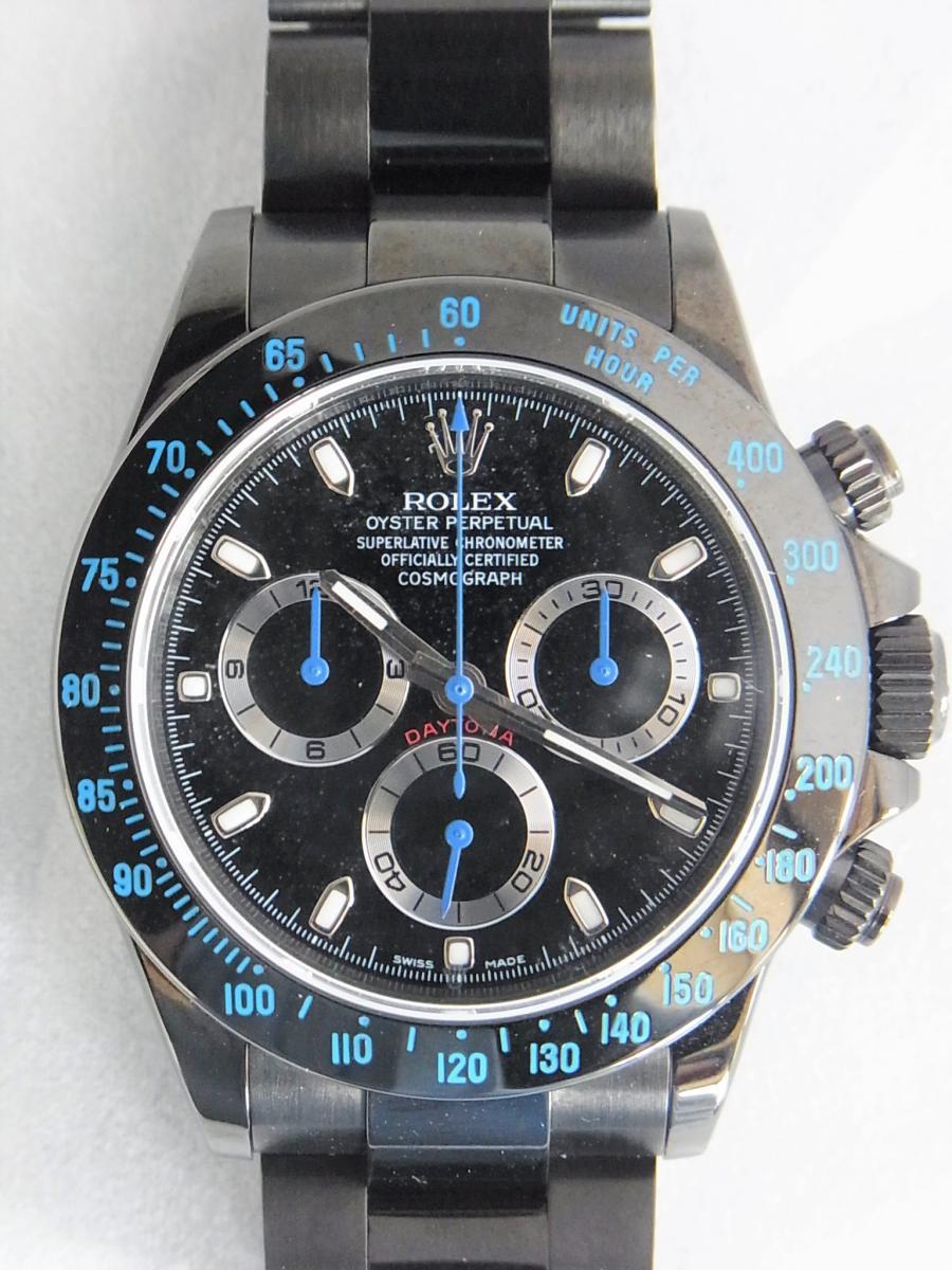 ロレックスデイトナカスタムブルーPVD加工 プロジェクトX 116520ランダムシリアル 買取実績 正面全体画像 時計を売るならピアゾ(PIAZO)