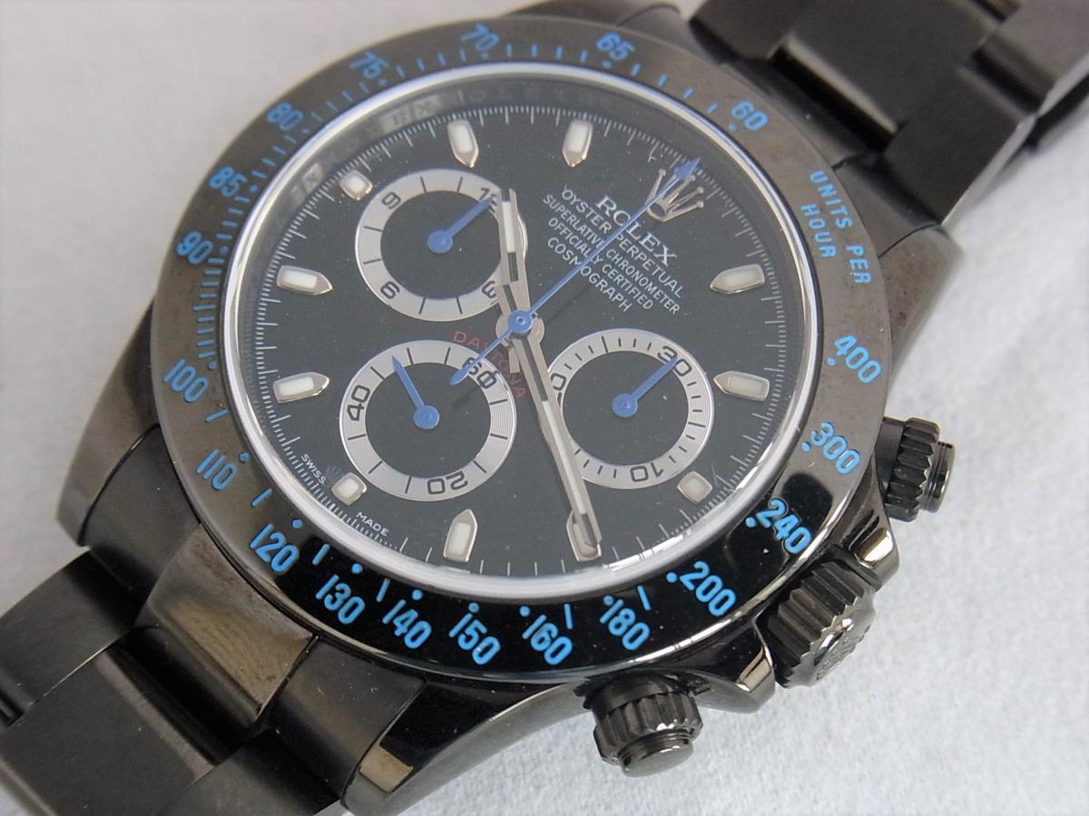 ロレックスデイトナカスタムブルーPVD加工 プロジェクトX 116520ランダムシリアル 買取り実績 フェイス斜め画像 時計を売るならピアゾ(PIAZO)