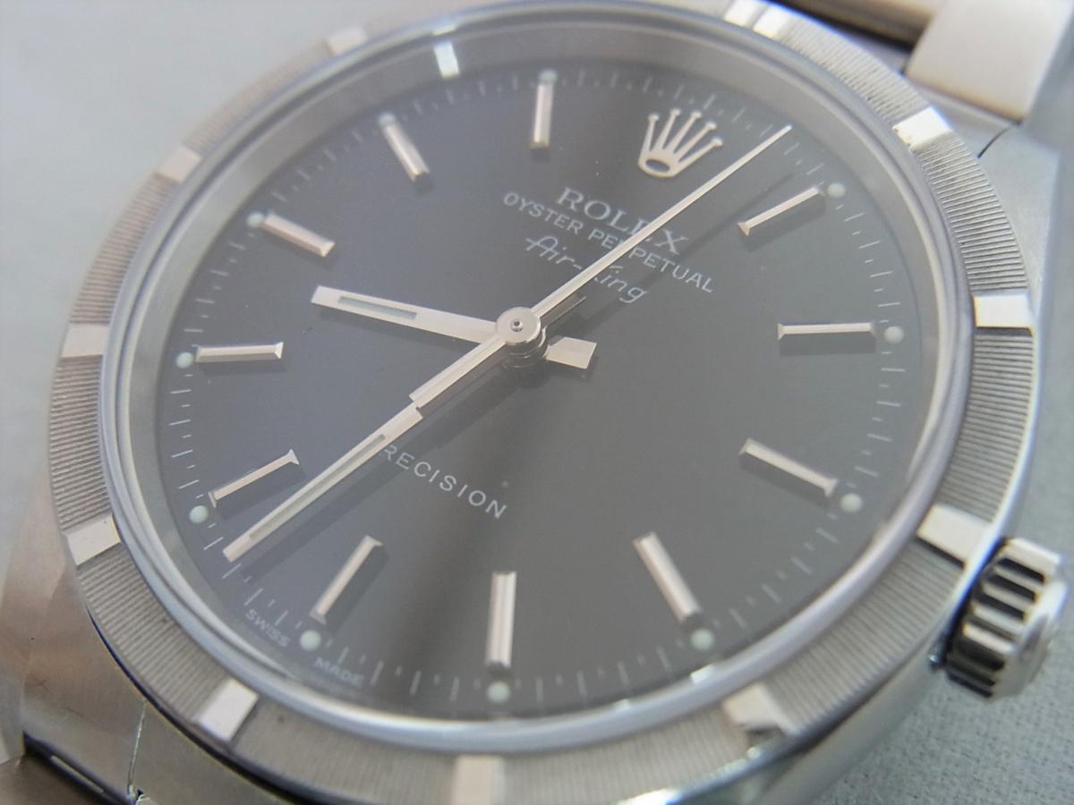 ロレックスエアキング14010M黒文字盤バーインデックス F番シリアル 買取り実績 フェイス斜め画像 時計を売るならピアゾ(PIAZO)