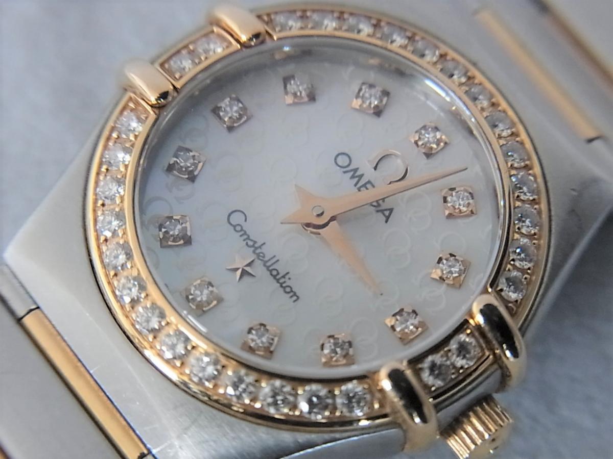 オメガコンステレーションシェルダイヤルダイヤモンド巻ポイントダイヤモンドYG 1358.75 買取り実績 フェイス斜め画像 時計を売るならピアゾ(PIAZO)