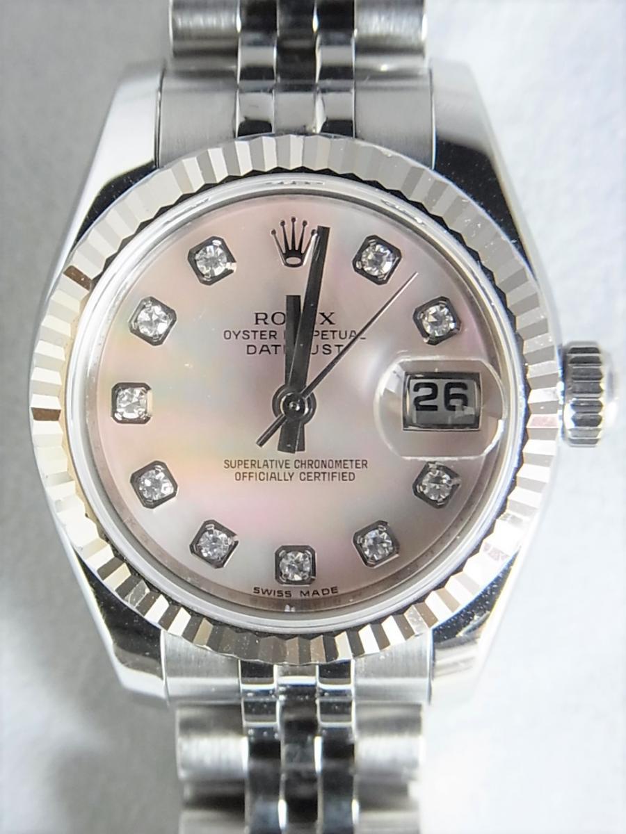 ロレックスデイトジャスト179174NG 10Pダイヤモンド M番シリアル 買取実績 正面全体画像 時計を売るならピアゾ(PIAZO)