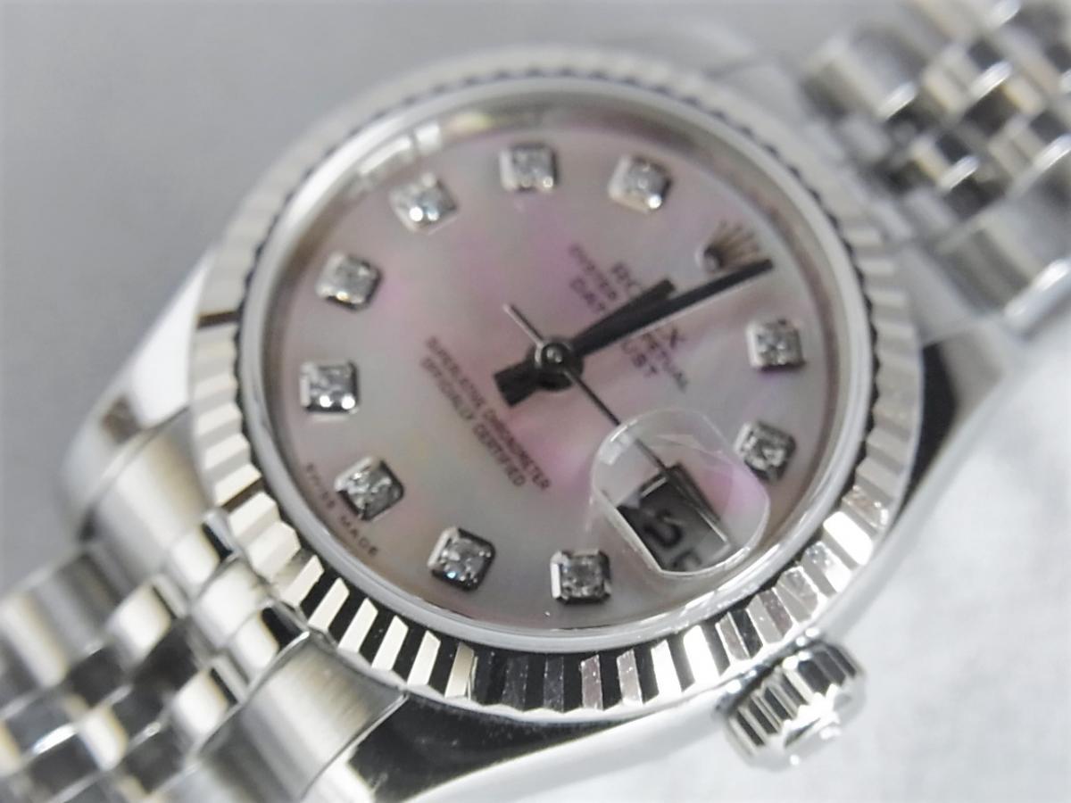 ロレックスデイトジャスト179174NG 10Pダイヤモンド M番シリアル 買取り実績 フェイス斜め画像 時計を売るならピアゾ(PIAZO)