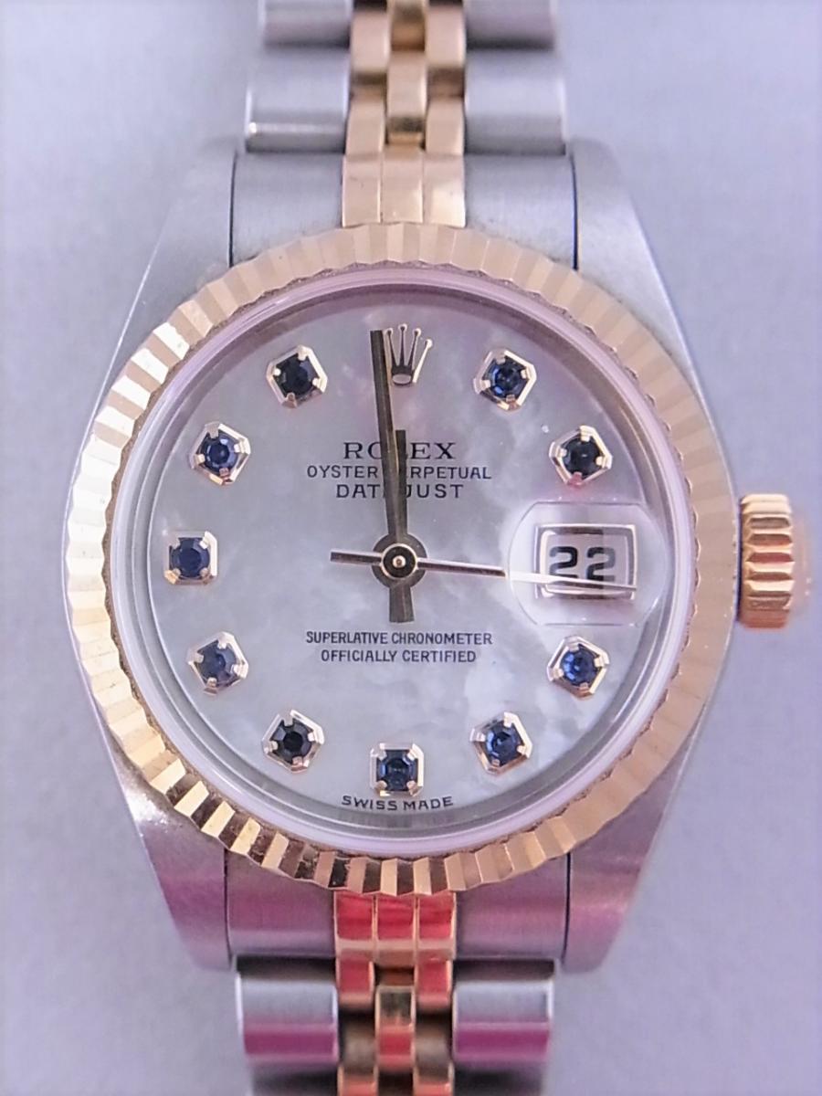 ロレックスデイトジャスト ref.79173NGS パールブルーサファイア文字盤 ロレックスシリアルY番(2002年製造) 買取実績 正面全体画像 時計を売るならピアゾ(PIAZO)