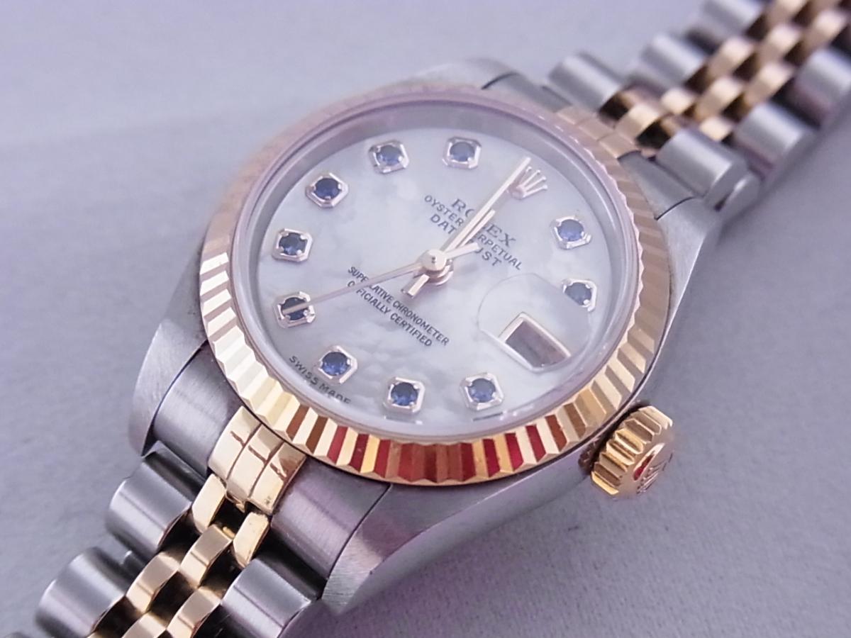 ロレックスデイトジャスト ref.79173NGS パールブルーサファイア文字盤 ロレックスシリアルY番(2002年製造) 買取り実績 フェイス斜め画像 時計を売るならピアゾ(PIAZO)
