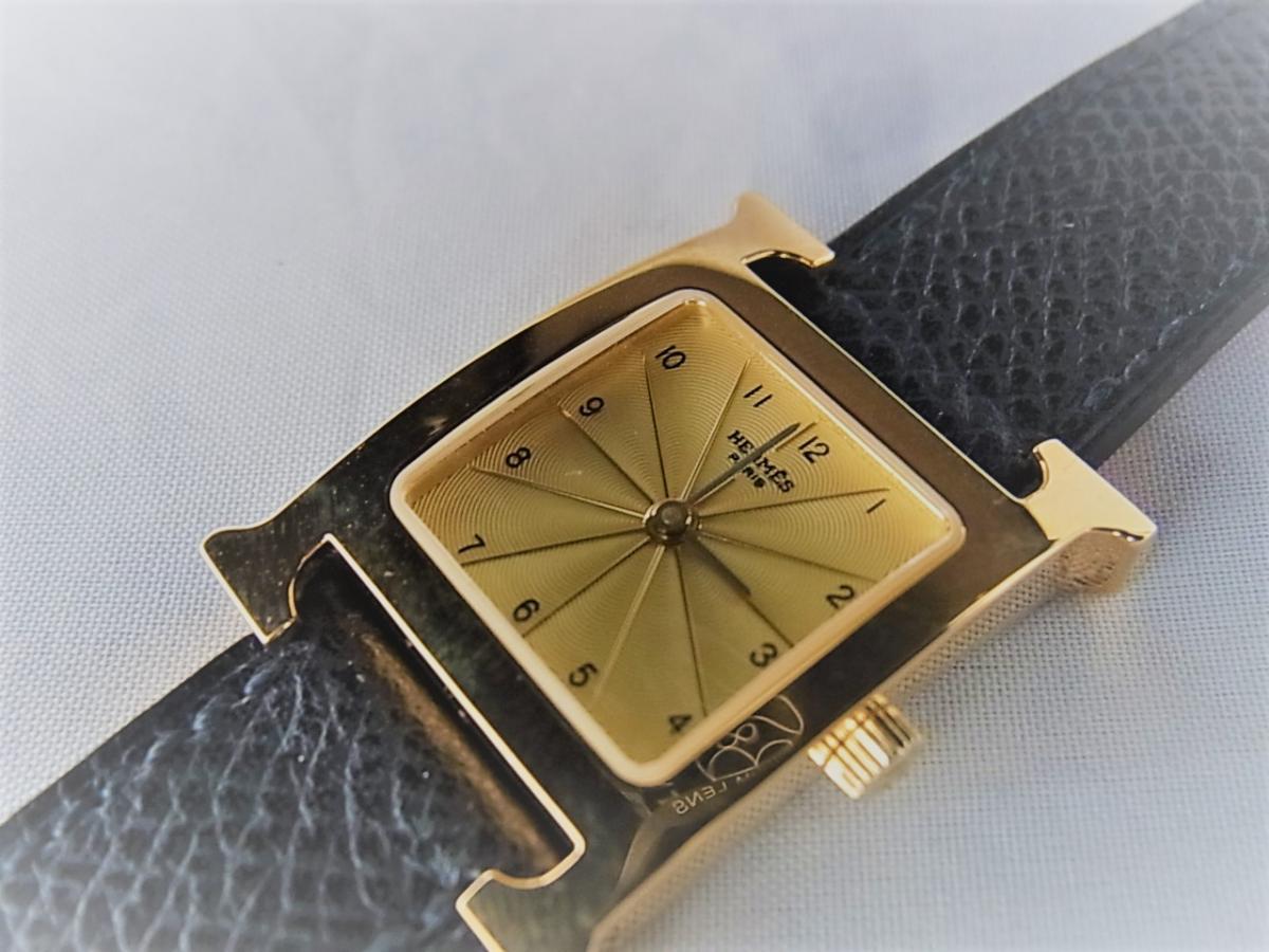 エルメスHウォッチ 金無垢 HH1.201 新品・未使用品 買取り実績 フェイス斜め画像 時計を売るならピアゾ(PIAZO)