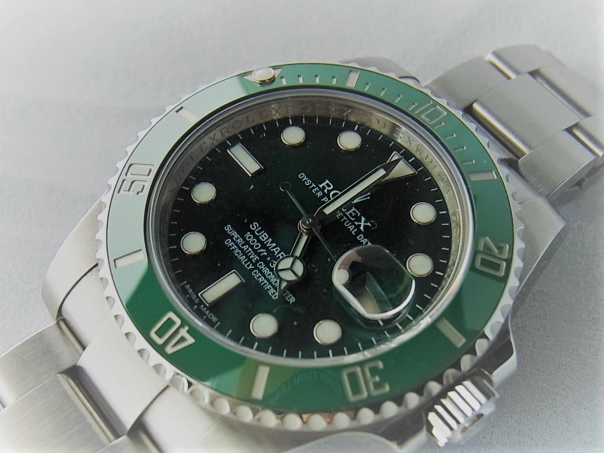 ロレックスグリーンサブマリーナデイトセラミックベゼルグリーンダイヤル116610LV 買取り実績 フェイス斜め画像 時計を売るならピアゾ(PIAZO)