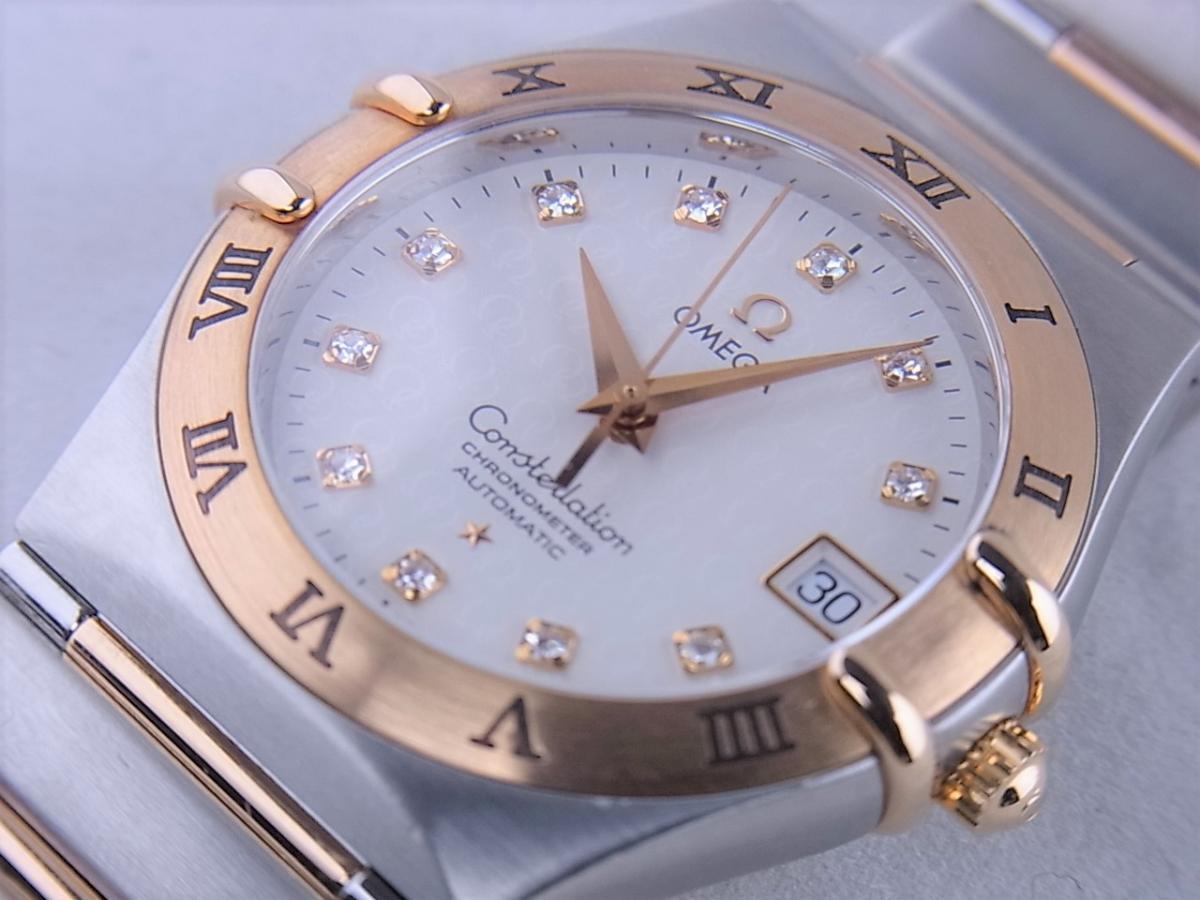 オメガ コンステレーション50th 1304.35 11Pダイヤモンドインデックス コンビモデル 35.5mmメンズ腕時計 買取り実績 フェイス斜め画像 時計を売るならピアゾ(PIAZO)