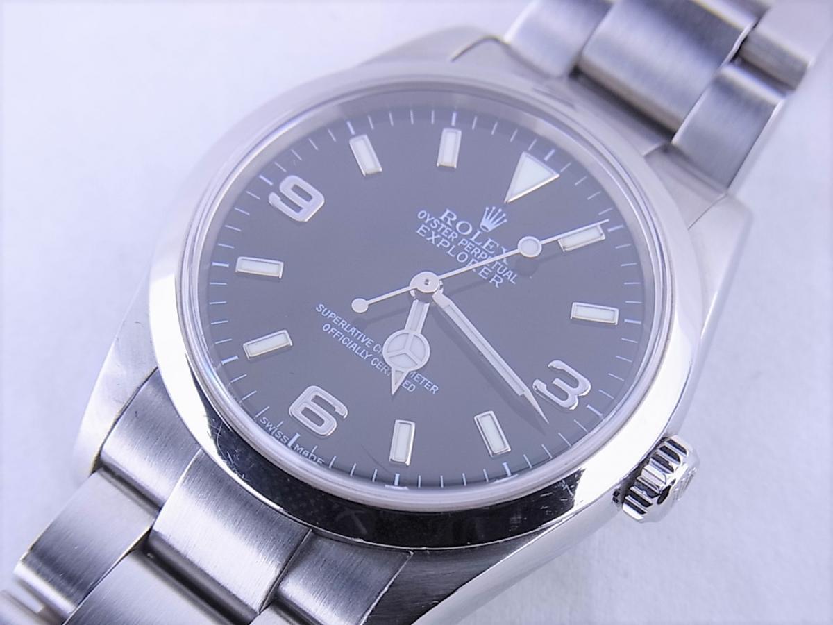 ロレックス エクスプローラー114270 cal.3130 シリアルF番(2003年頃製造) メンズ腕時計 買取り実績 フェイス斜め画像 時計を売るならピアゾ(PIAZO)
