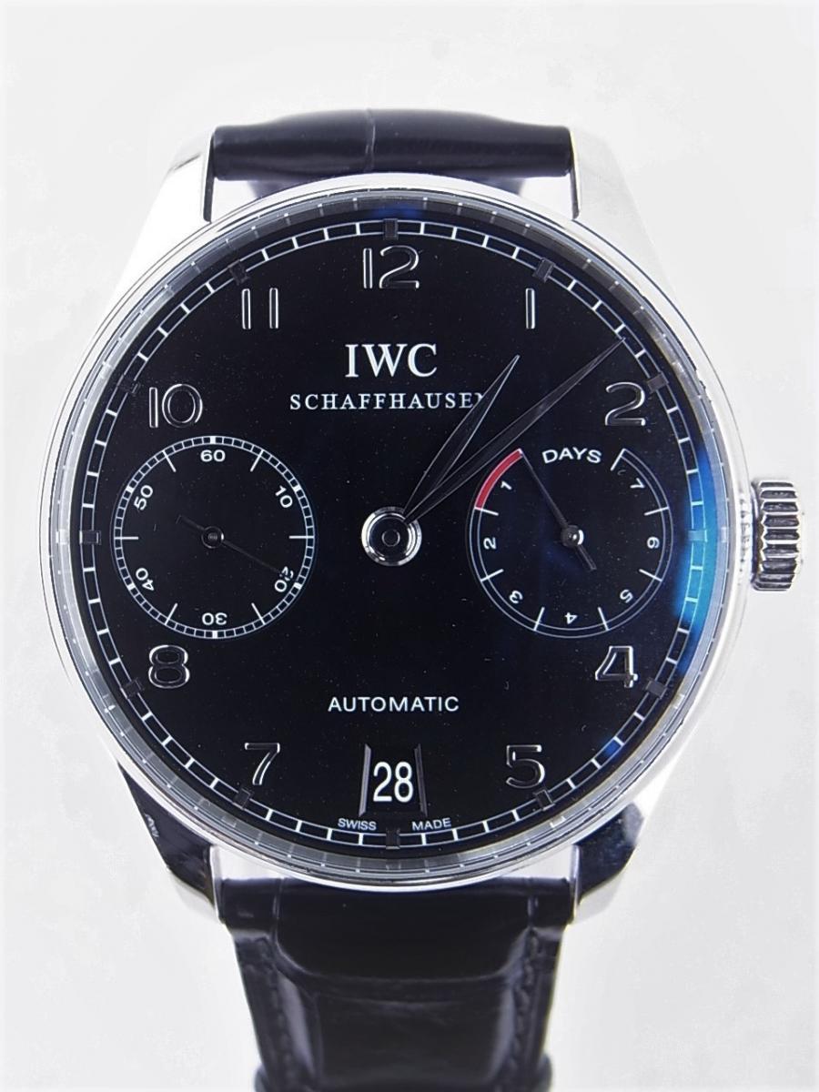 IWC ポルトギーゼ7デイズブラックIW500109 買取実績 正面全体画像 時計を売るならピアゾ(PIAZO)