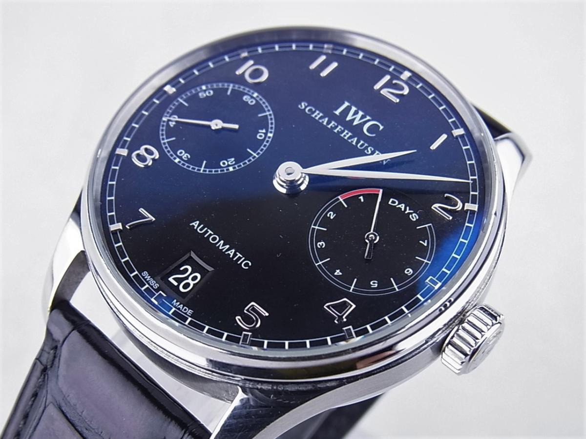 IWC ポルトギーゼ7デイズブラックIW500109 買取り実績 フェイス斜め画像 時計を売るならピアゾ(PIAZO)