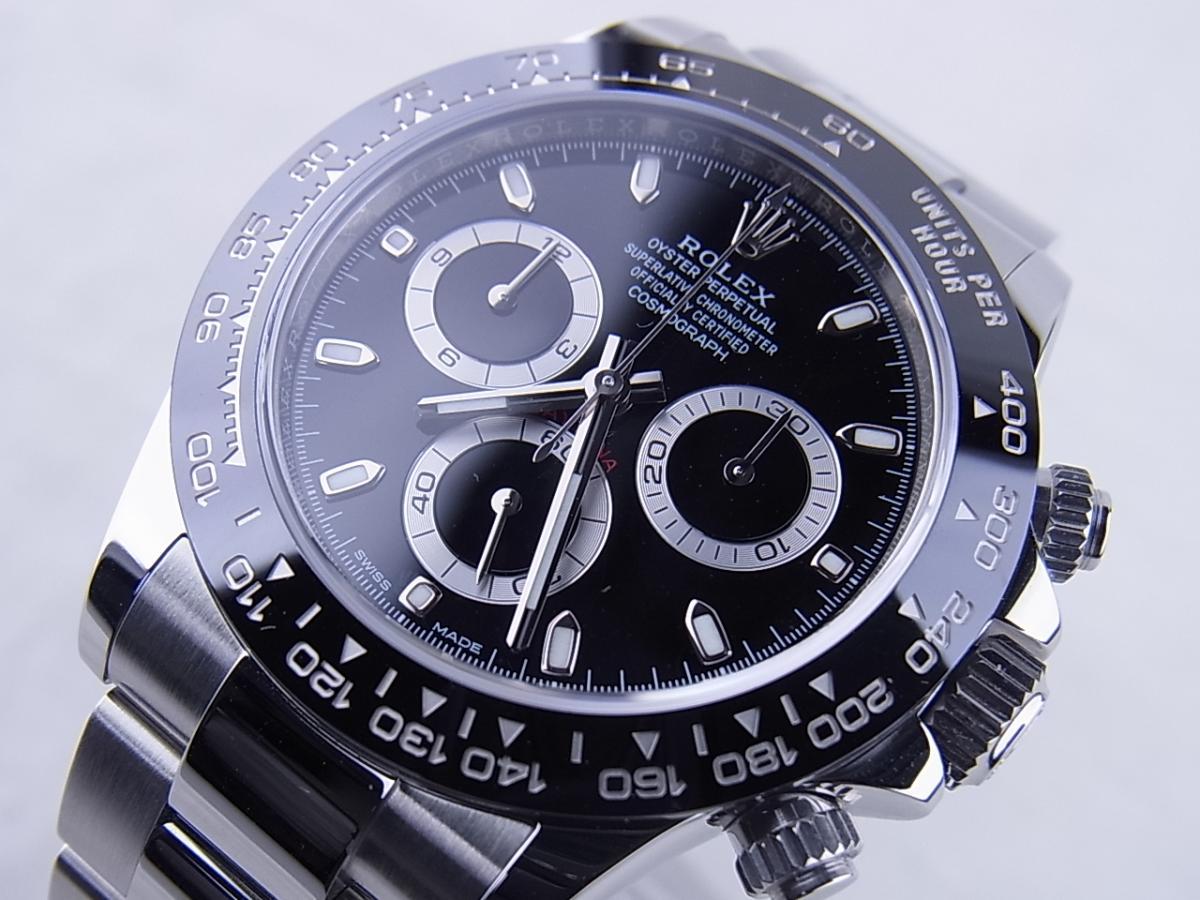 ロレックス デイトナ 116500LN 黒文字盤 買取り実績 フェイス斜め画像 時計を売るならピアゾ(PIAZO)