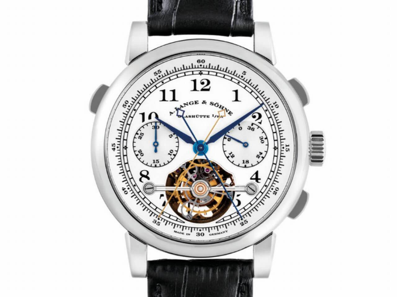 A. LANGE & SÖHNE. AN EXTREMELY FINE, VERY RARE AND IMPRESSIVE PLATINUM LIMITED EDITION SPLIT SECONDS CHRONOGRAPH TOURBILLON